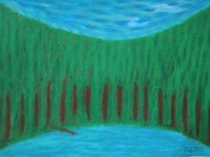 LAke in the forest by oil pastel